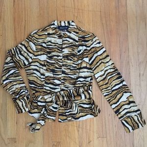 Jones New York Leopard Prints long sleeve shirt PM